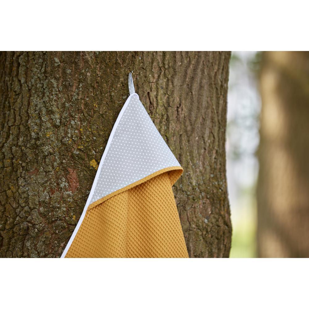 KraftKids Kapuzenhandtuch weiße Punkte auf Grau und Waffel Piqué mustard