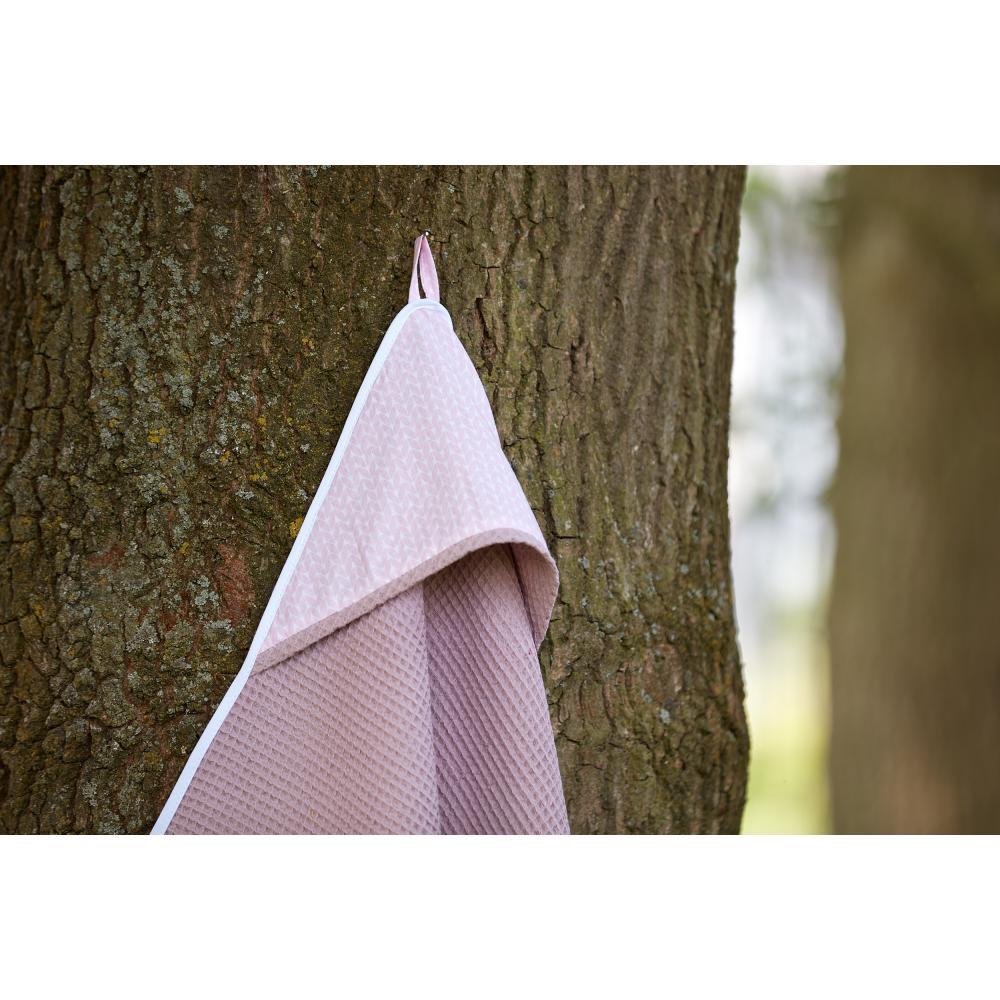KraftKids Kapuzenhandtuch kleine Blätter rosa auf Weiß und Waffel Piqué rosa