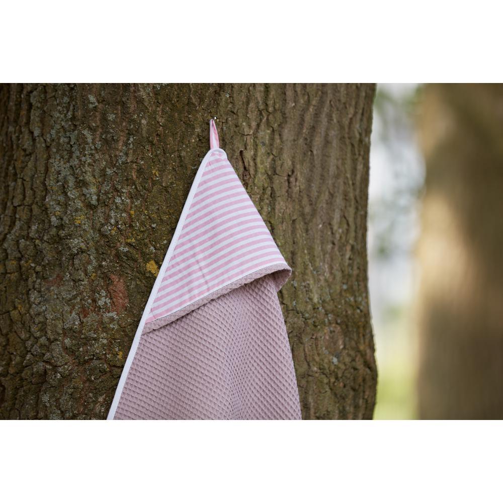 KraftKids Kapuzenhandtuch Streifen rosa und Waffel Piqué rosa