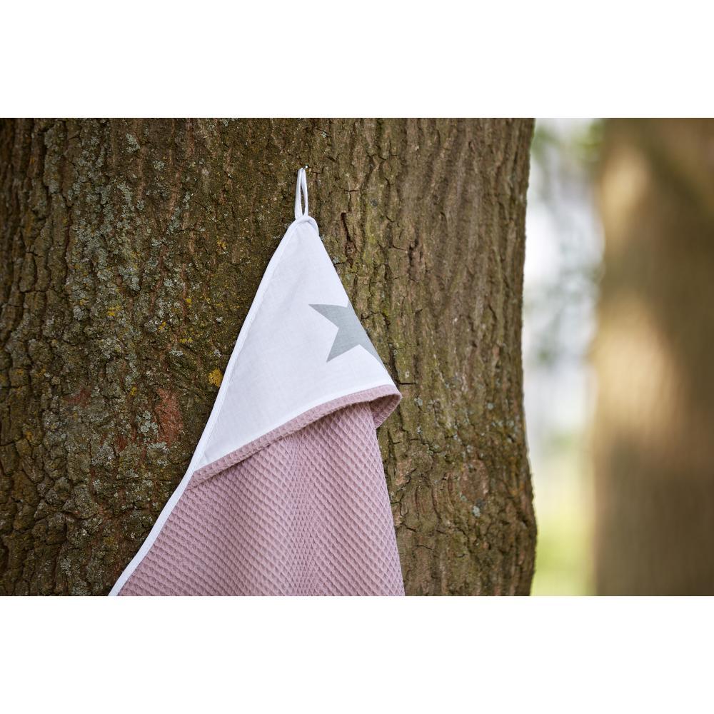KraftKids Kapuzenhandtuch große graue Sterne auf Weiss und Waffel Piqué rosa