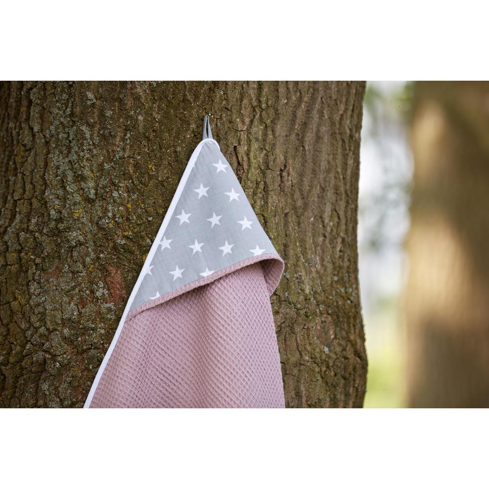 KraftKids Kapuzenhandtuch kleine weiße Sterne auf Grau und Waffel Piqué rosa