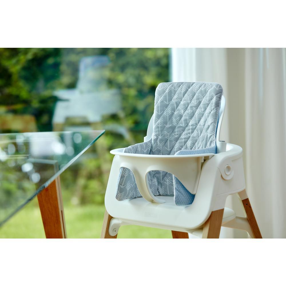 KraftKids Sitzverkleinerer weiße Pfeile auf Grau und weiße Punkte auf Hellblau Hochstuhl Hochstuhleinlage
