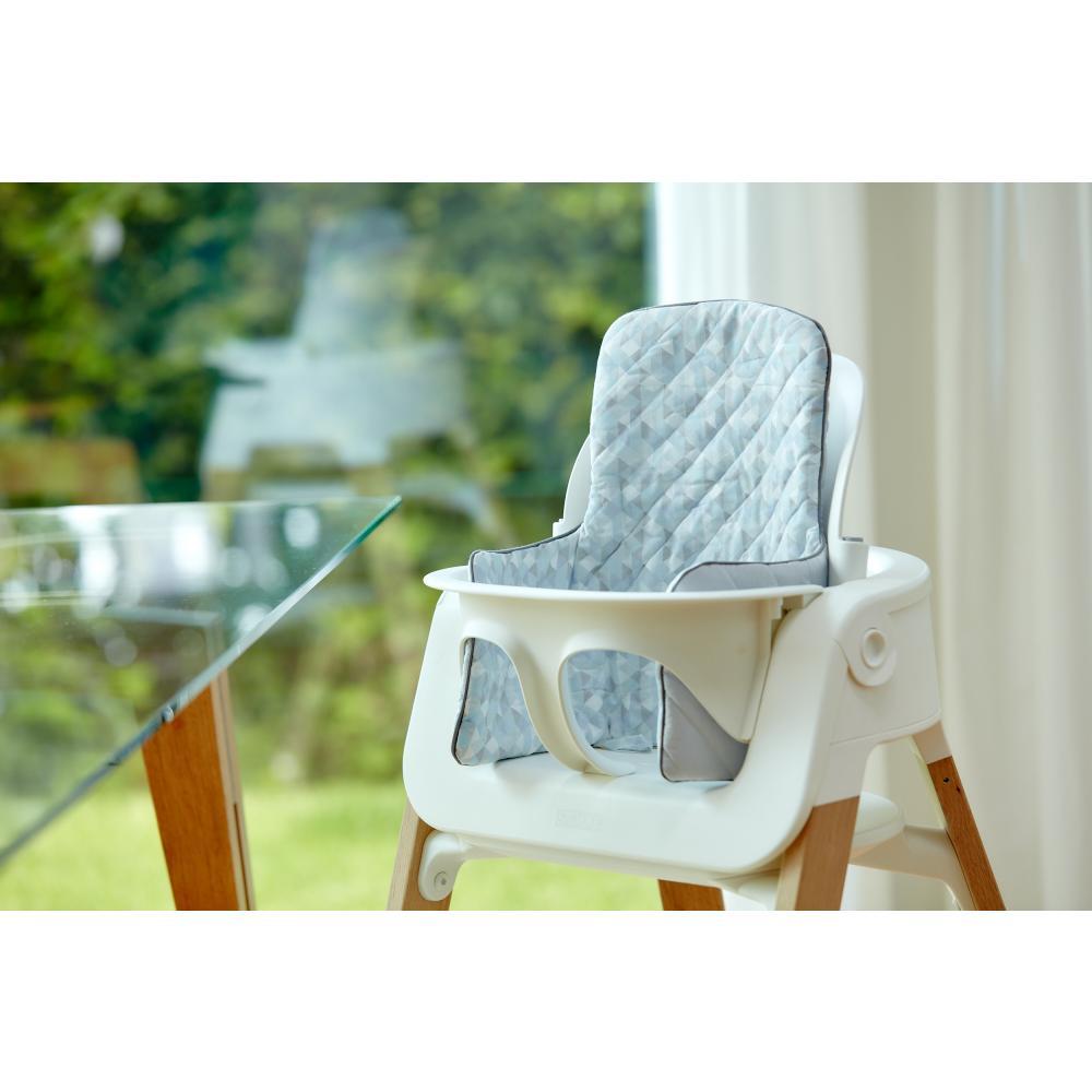 KraftKids Sitzverkleinerer kleine Dreiecke blau grau weiß Hochstuhl Hochstuhleinlage