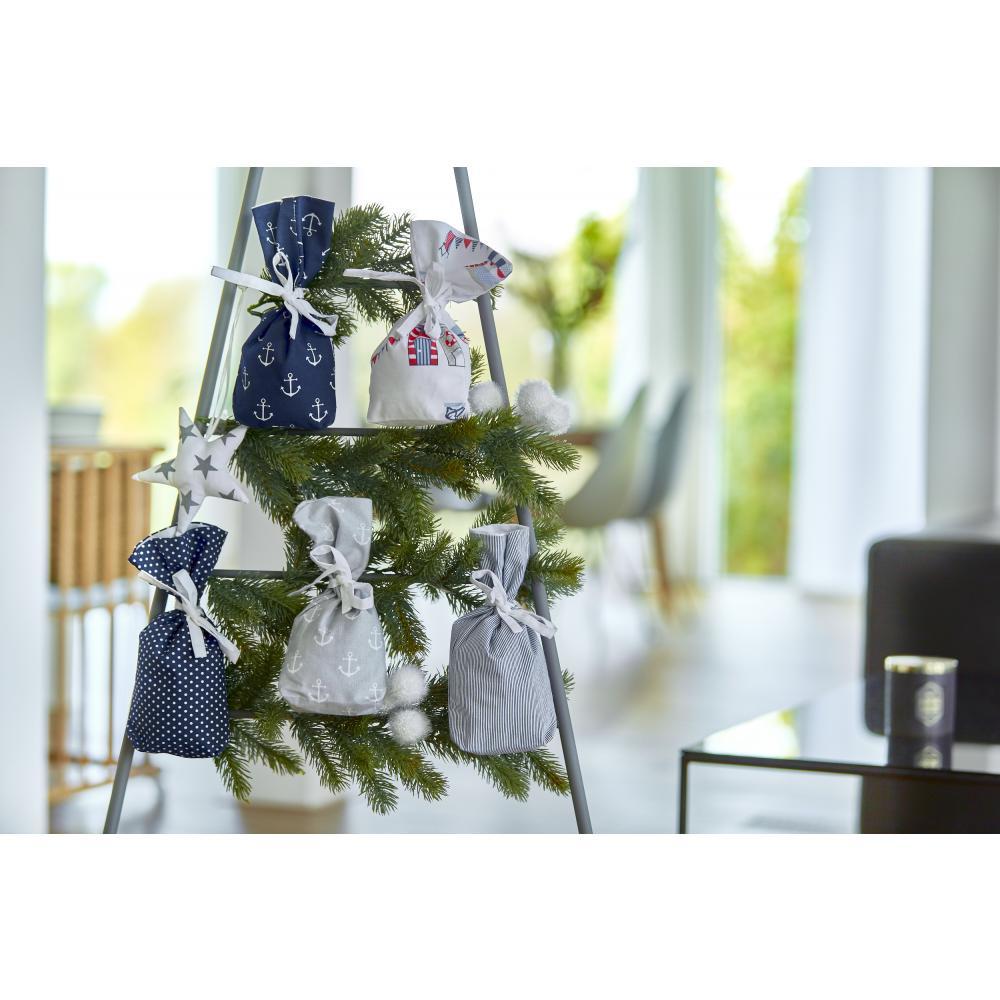 KraftKids Dekoration Adventskalender maritim dunkelblau grau 24 Stoff Säckchen zum Befüllen Baumwolle verschiedene Farbrichtungen für Groß und Klein