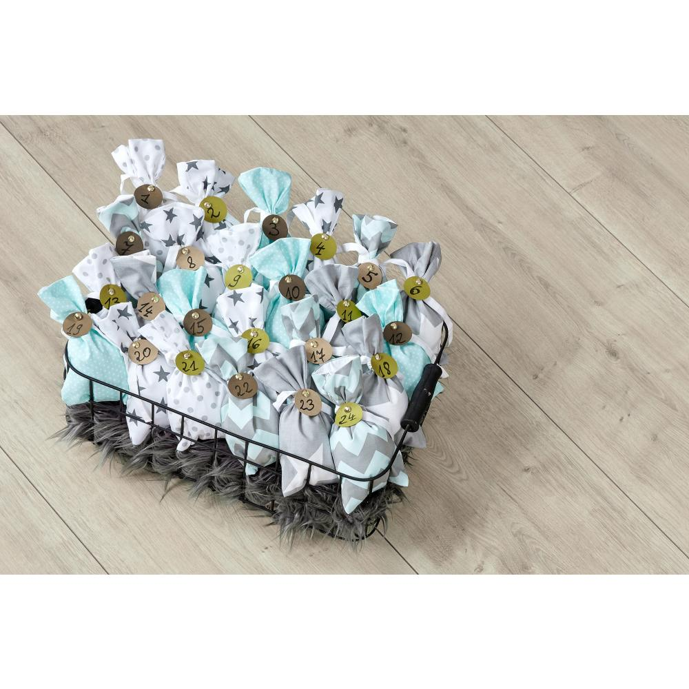 KraftKids Dekoration Adventskalender mint grau 24 Stoff Säckchen zum Befüllen Baumwolle verschiedene Farbrichtungen für Groß und Klein