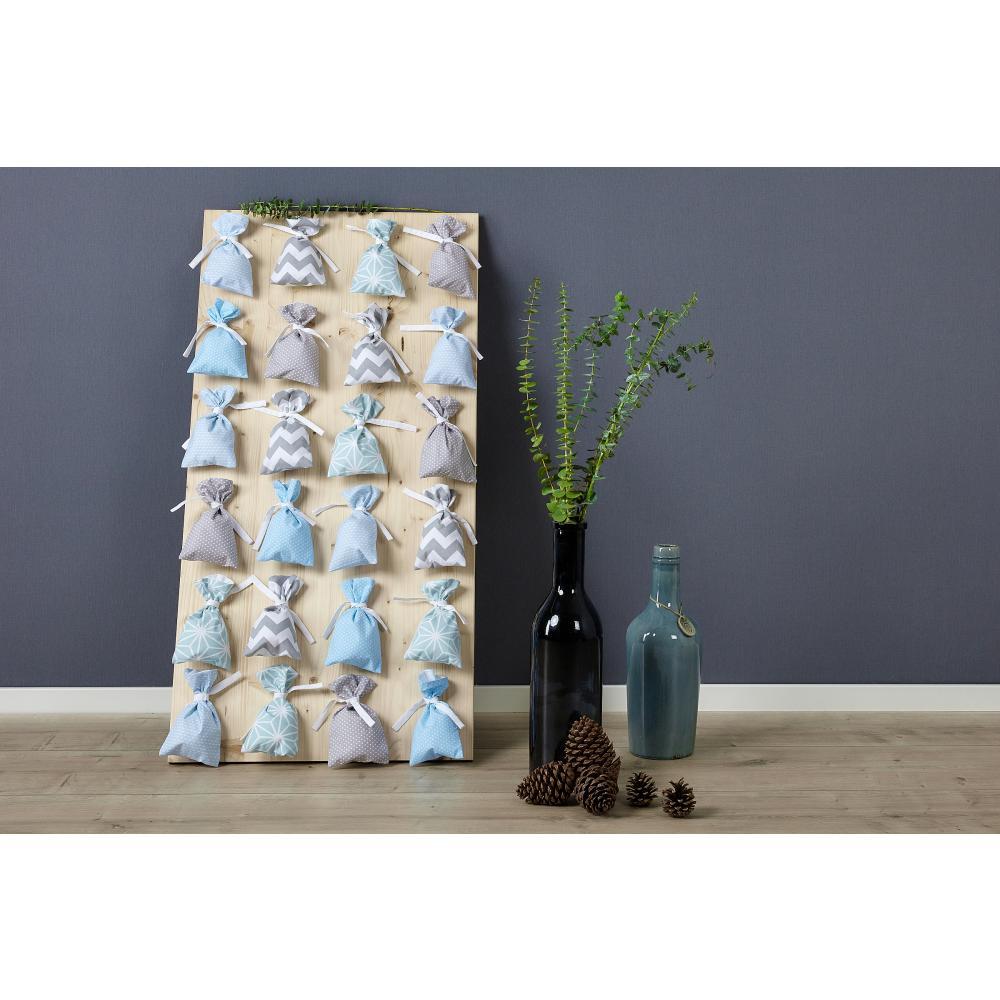 KraftKids Dekoration Adventskalender blau grau 24 Stoff Säckchen zum Befüllen Baumwolle verschiedene Farbrichtungen für Groß und Klein