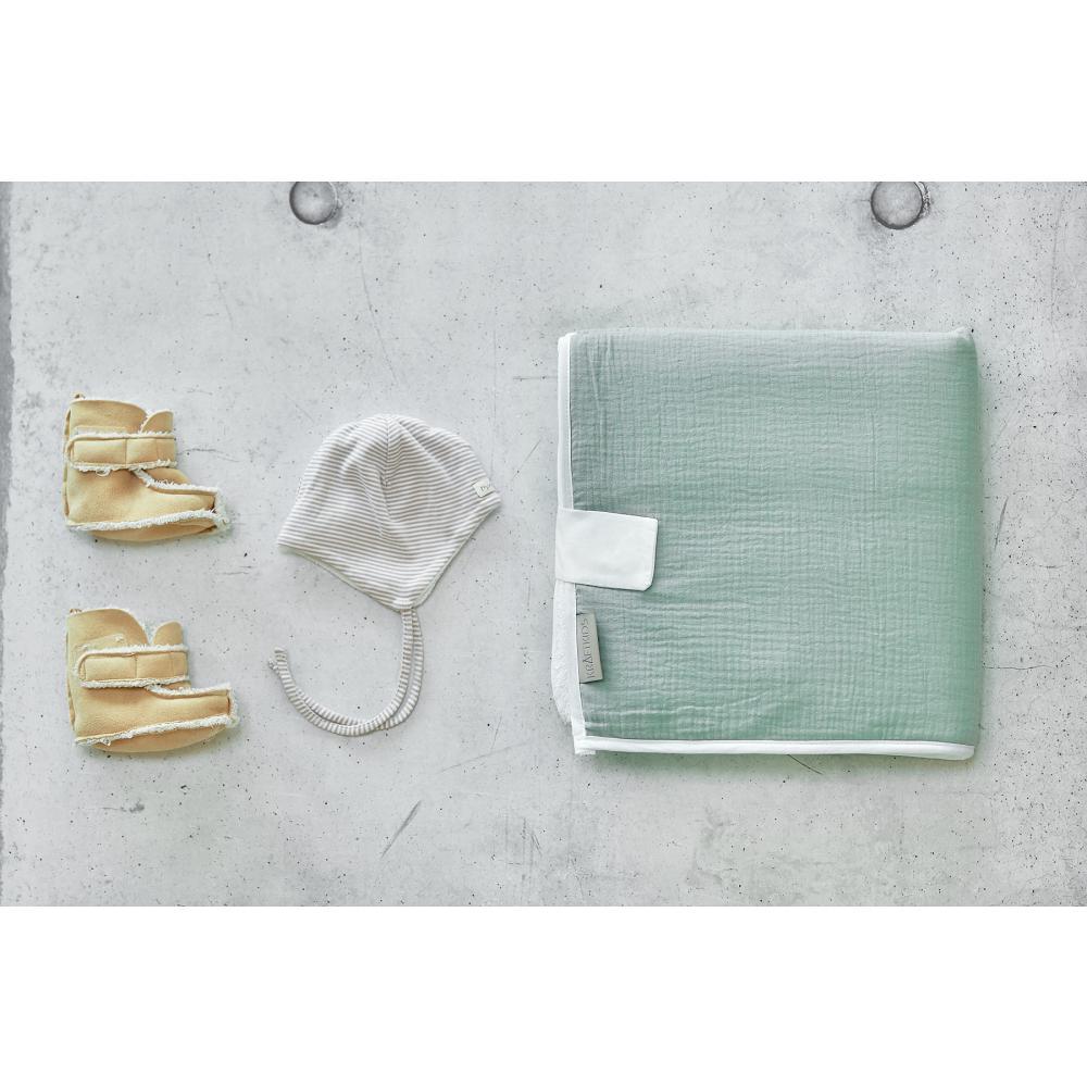 KraftKids Reisewickelunterlage Musselin mint 3 Lagen wasserundurchlässig weich Frotte 100% Baumwolle