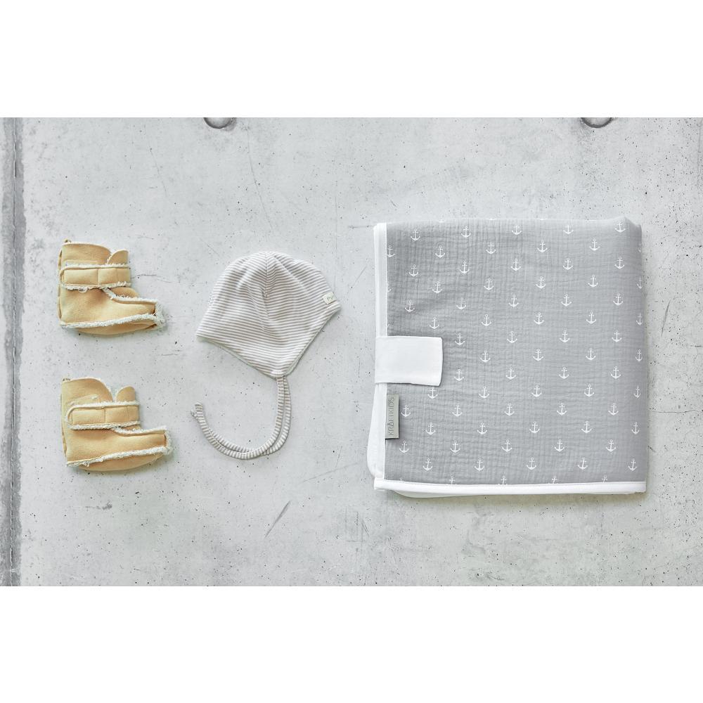 KraftKids Reisewickelunterlage Musselin grau Anker 3 Lagen wasserundurchlässig weich Frotte 100% Baumwolle