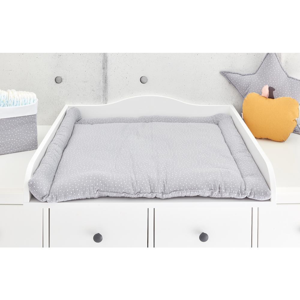 KraftKids Wickelauflage Musselin grau Punkte breit 60 x tief 70 cm passend für Waschmaschinen-Aufsatz von KraftKids