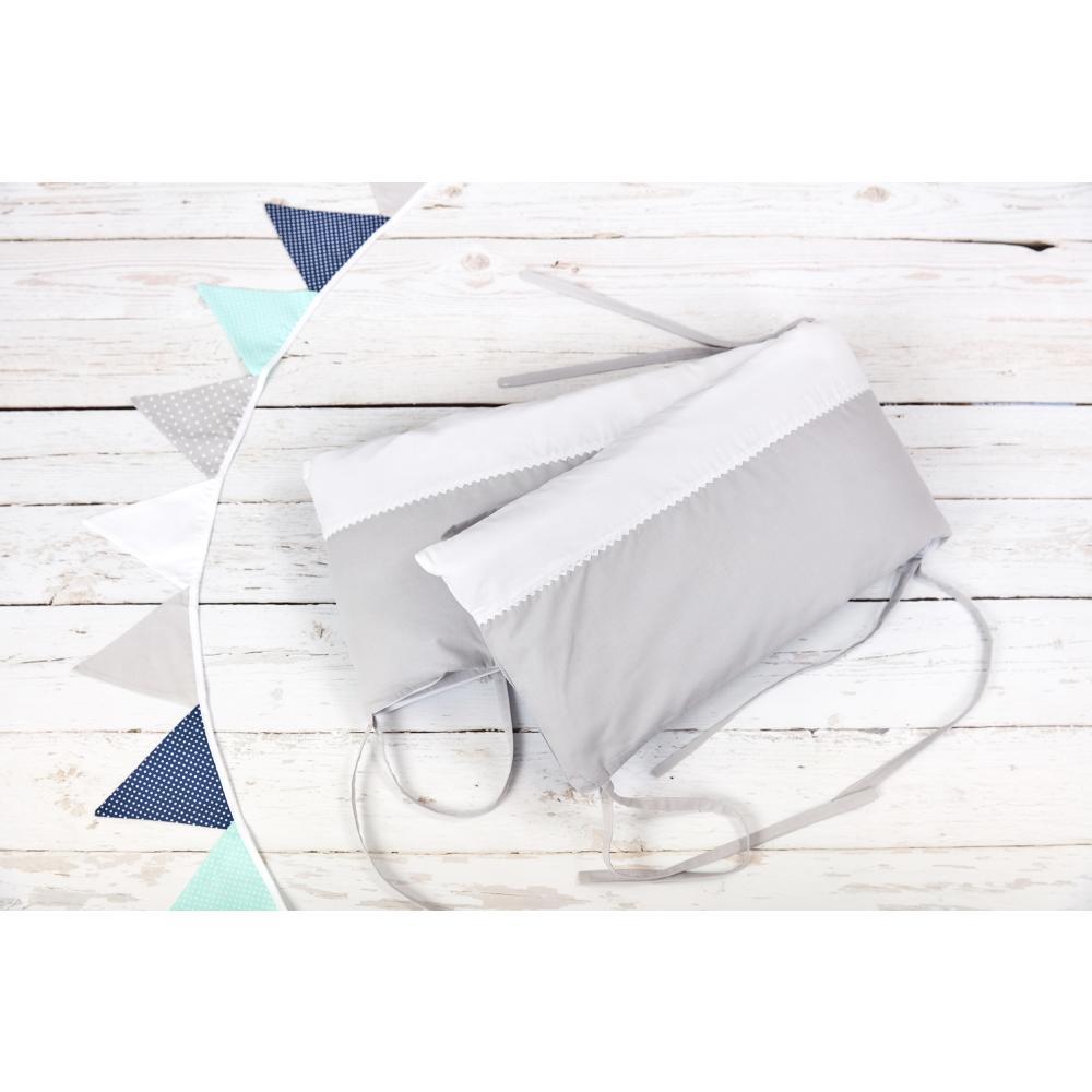 KraftKids Nestchen Uniweiss und Unigrau Nestchenlänge 60-70-60 cm für Bettgröße 140 x 70 cm