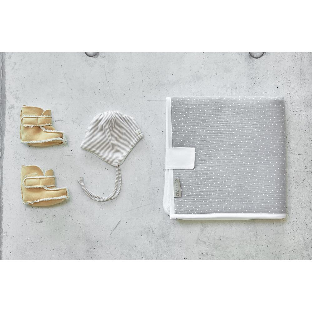KraftKids Reisewickelunterlage Musselin grau Punkte 3 Lagen wasserundurchlässig weich Frotte 100% Baumwolle