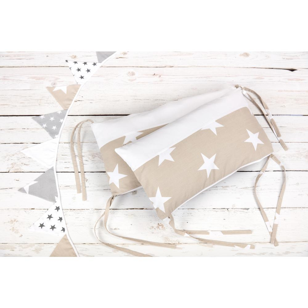 KraftKids Nestchen große weiße Sterne auf Beige und Uniweiss Nestchenlänge 60-70-60 cm für Bettgröße 140 x 70 cm