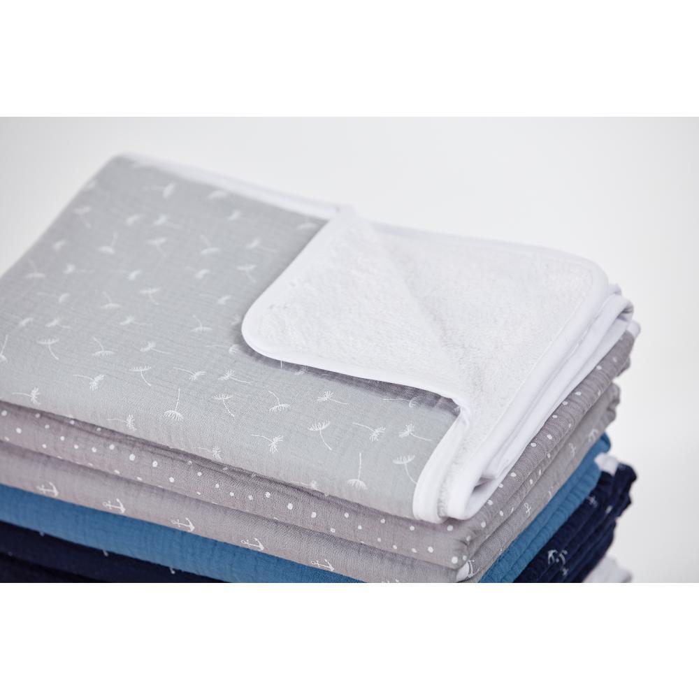 KraftKids Wickelunterlage Musselin grau Pusteblumen 3 Lagen wasserundurchlässig weich Frotte 100% Baumwolle