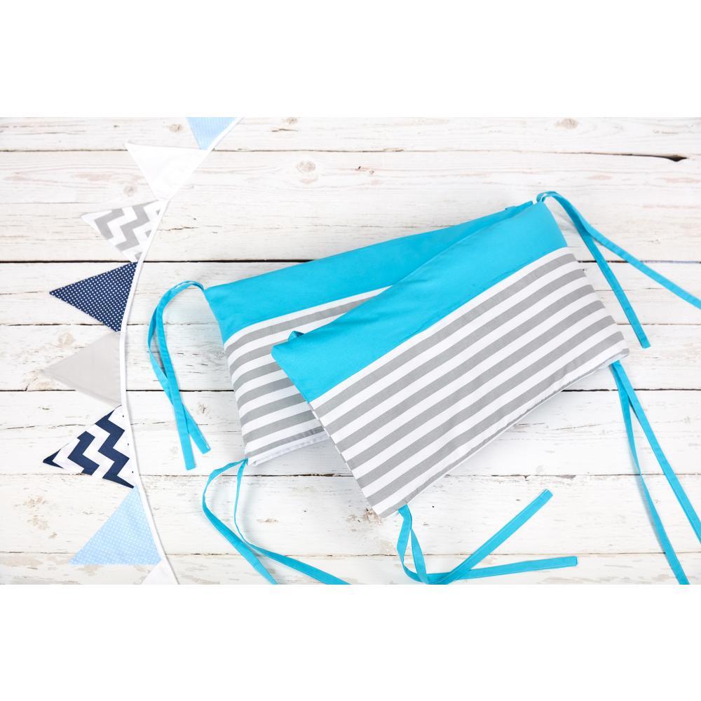 KraftKids Nestchen Unitürkis und dicke Streifen grau Nestchenlänge 60-70-60 cm für Bettgröße 140 x 70 cm