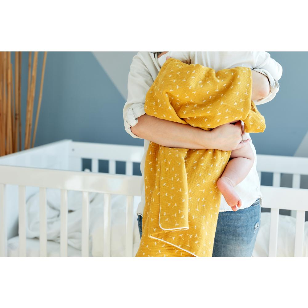 KraftKids Babydecke Musselin gelb Pusteblumen