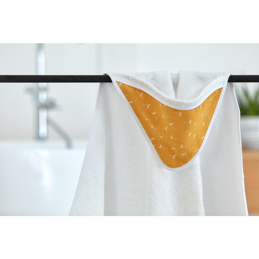 KraftKids Kapuzenhandtuch Musselin gelb Pusteblumen