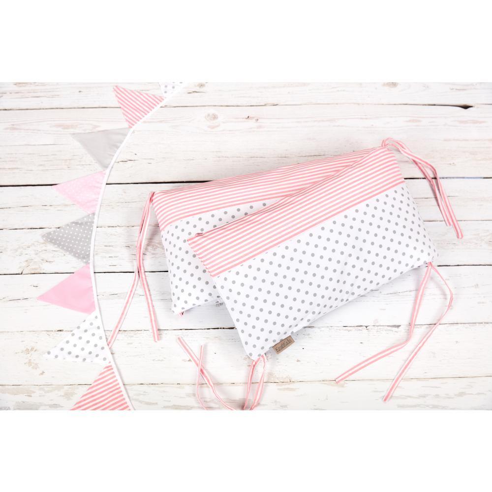 KraftKids Nestchen graue Punkte auf Weiss und Streifen rosa Nestchenlänge 60-70-60 cm für Bettgröße 140 x 70 cm