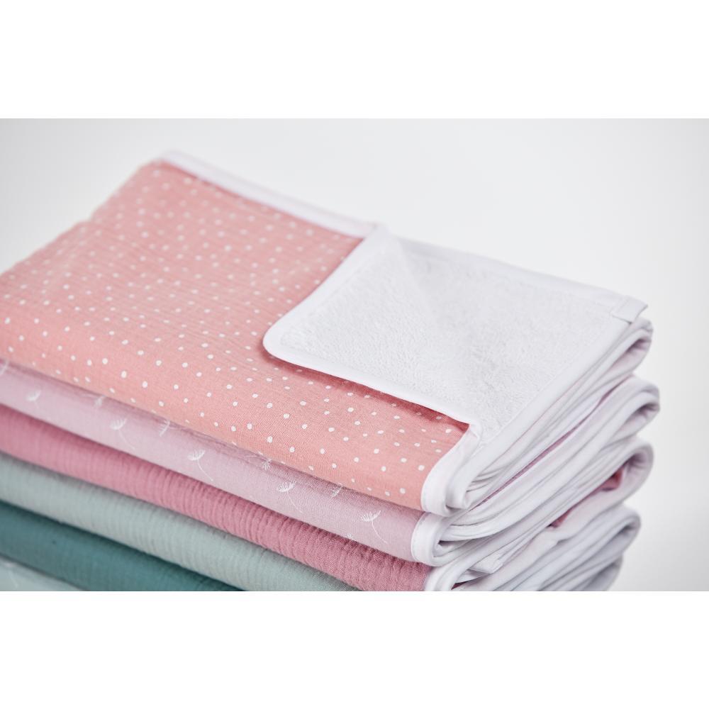 KraftKids Wickelunterlage Musselin rosa Punkte 3 Lagen wasserundurchlässig weich Frotte 100% Baumwolle