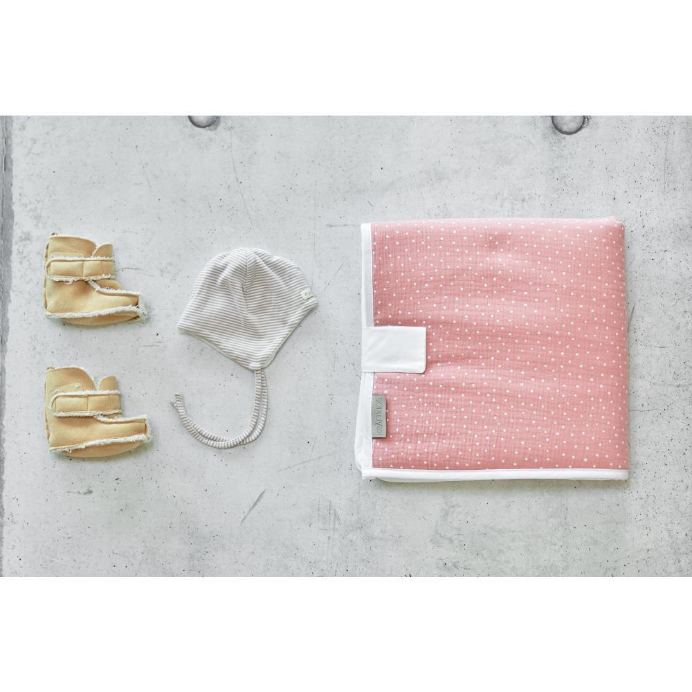 KraftKids Reisewickelunterlage Musselin rosa Punkte 3 Lagen wasserundurchlässig weich Frotte 100% Baumwolle