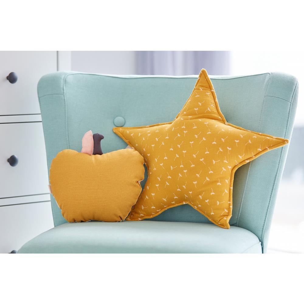 KraftKids Dekoration Sternkissen Musselin gelb Pusteblumen