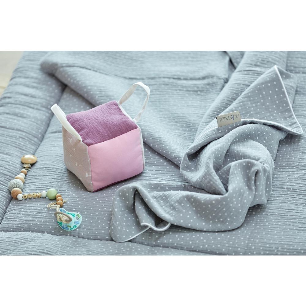 KraftKids Motorikwürfel aus Stoff Musselin purpur 100% Baumwolle sehr weich