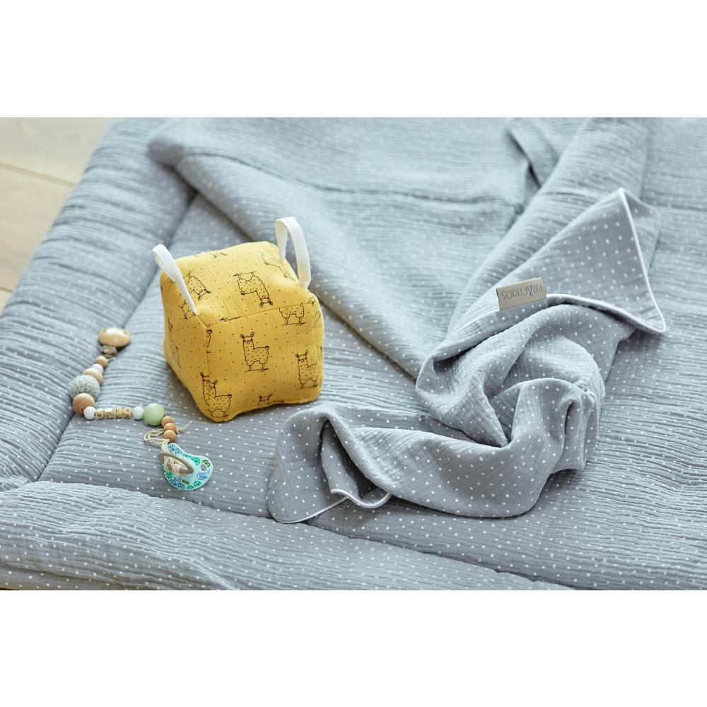 KraftKids Motorikwürfel aus Stoff Musselin gelb Lamma 100% Baumwolle sehr weich