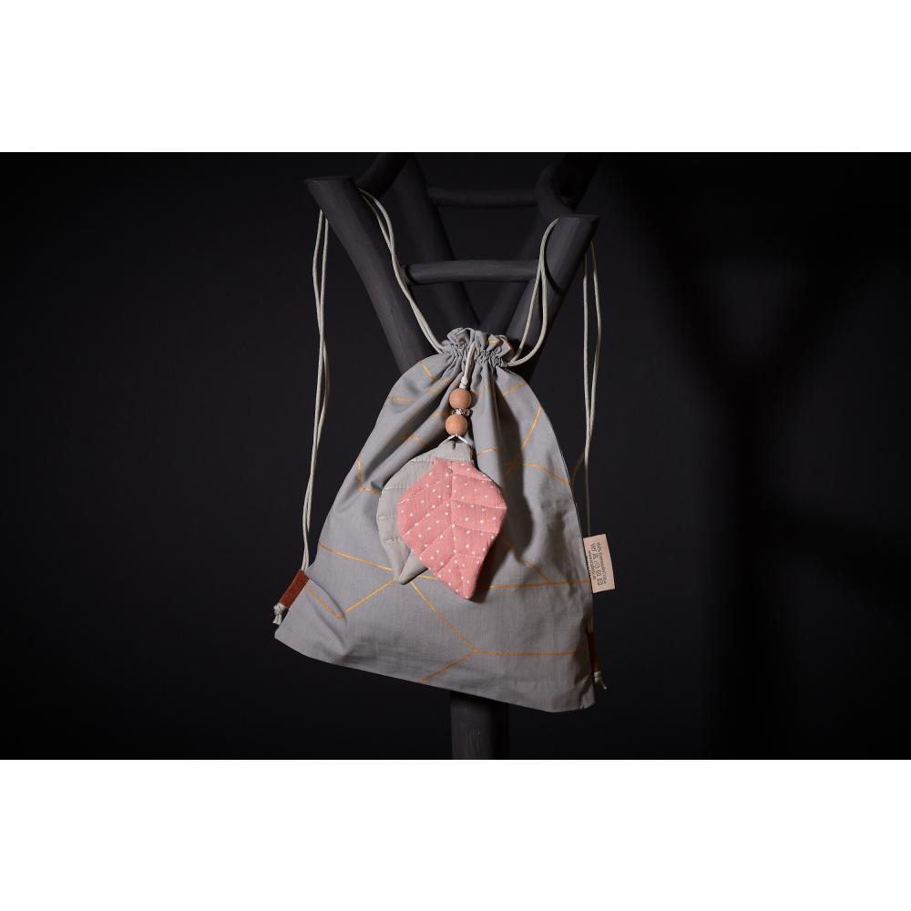 KraftKids Dekoration Anhänger Unigrau und Musselin rosa Punkte