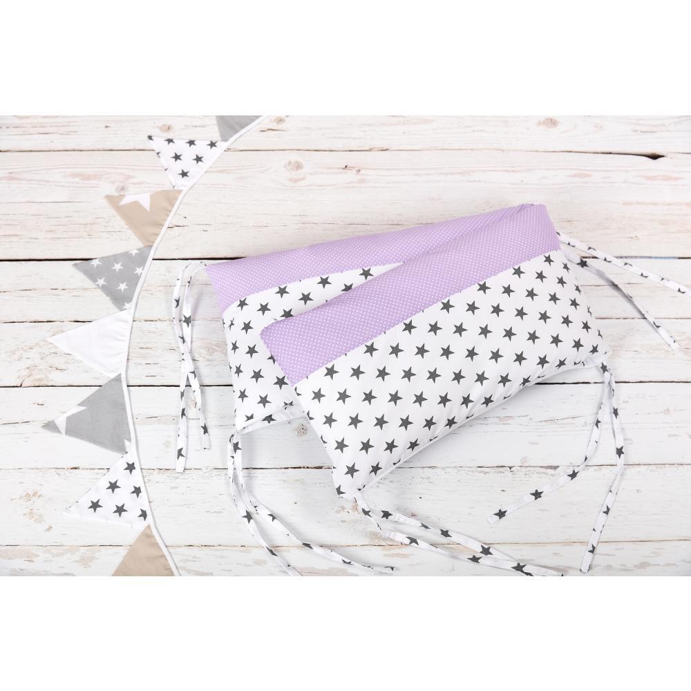 KraftKids Nestchen kleine graue Sterne auf Weiss und weiße Punkte auf Lila Nestchenlänge 60-70-60 cm für Bettgröße 140 x 70 cm
