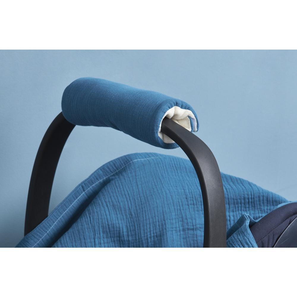 KraftKids Armschoner Babyschale Musselin blau Babyschale Armpolster