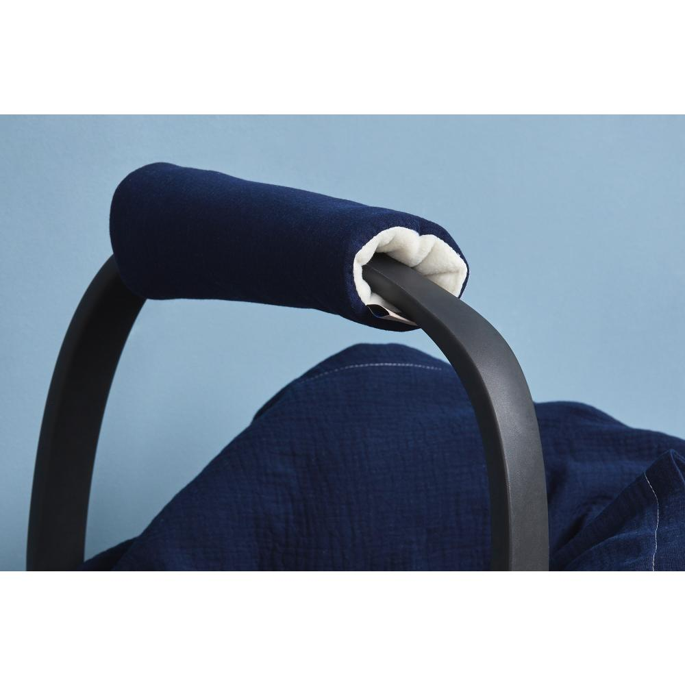KraftKids Armschoner Babyschale Musselin dunkelblau Babyschale Armpolster