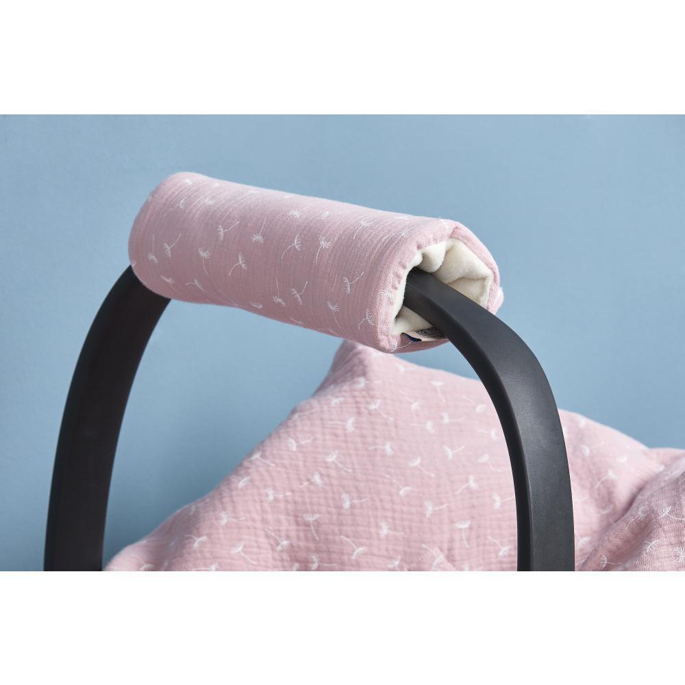 KraftKids Armschoner Babyschale Musselin rosa Pusteblumen Babyschale Armpolster