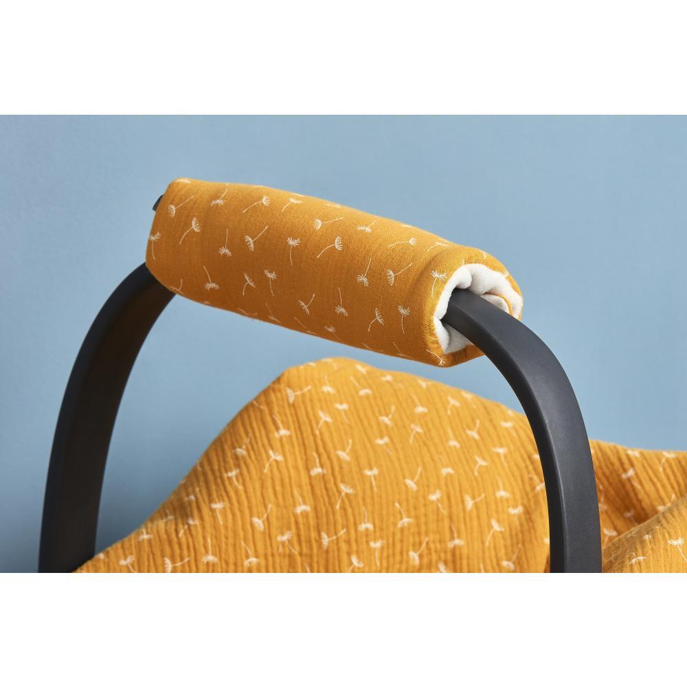 KraftKids Armschoner Babyschale Musselin gelb Pusteblumen Babyschale Armpolster