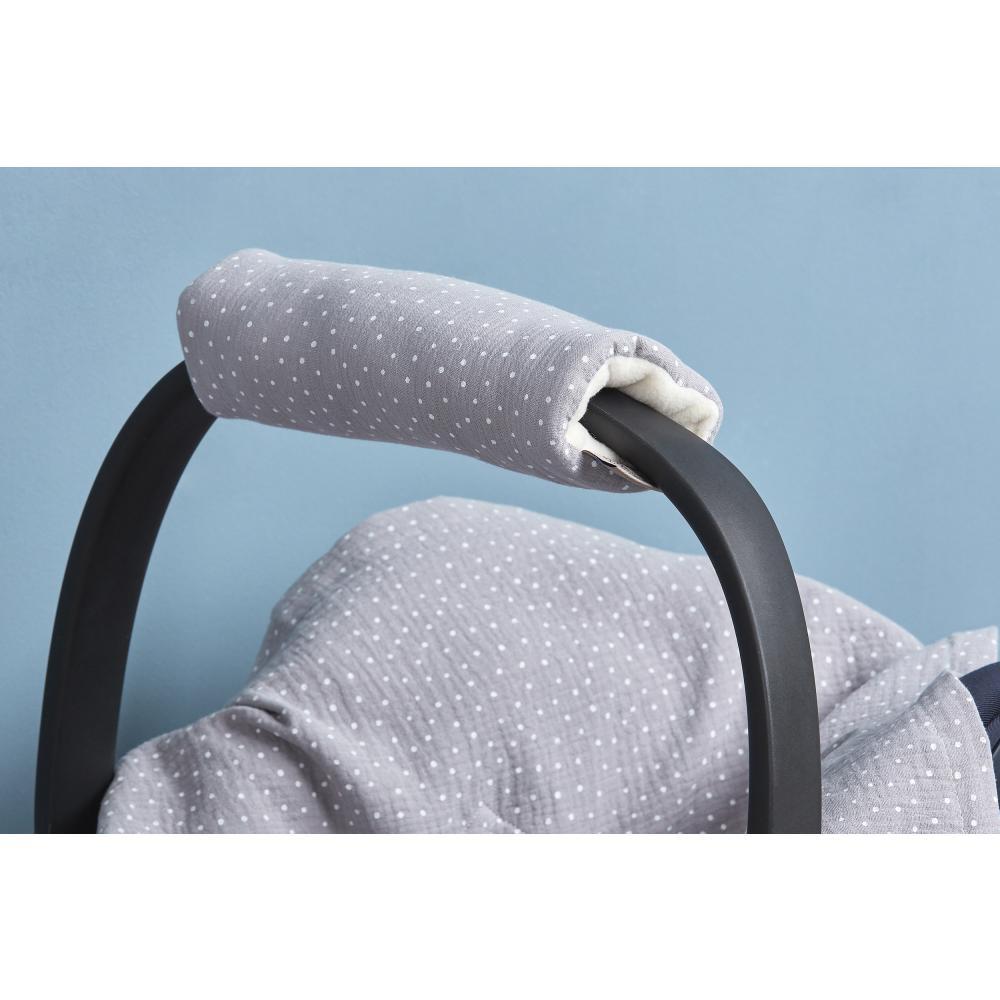 KraftKids Armschoner Babyschale Musselin grau Punkte Babyschale Armpolster