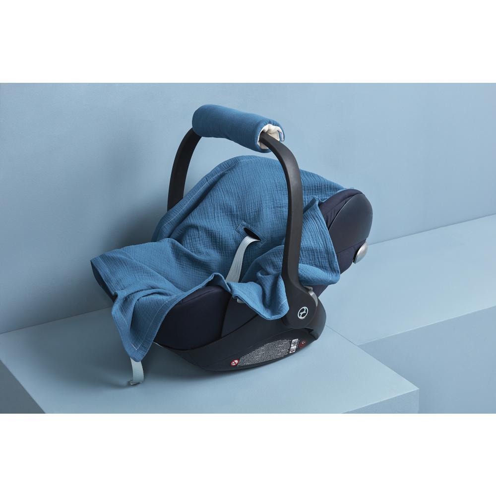 KraftKids Einschlagdecke für Babyschale Sommer Musselin blau