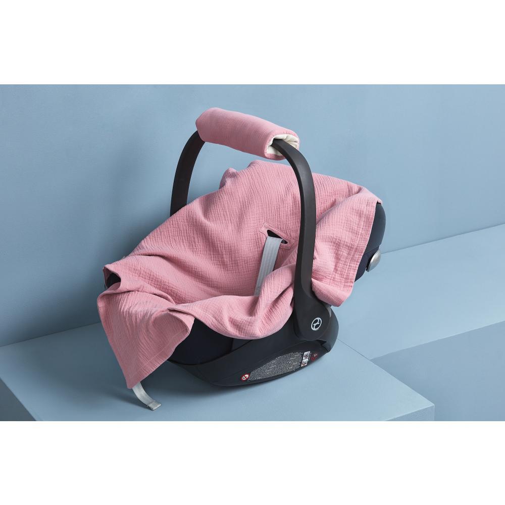 KraftKids Einschlagdecke für Babyschale Sommer Musselin rosa