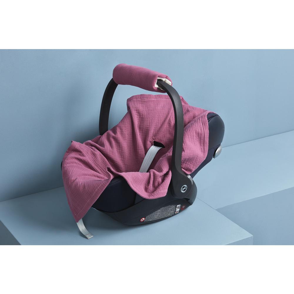 KraftKids Einschlagdecke für Babyschale Sommer Musselin purpur
