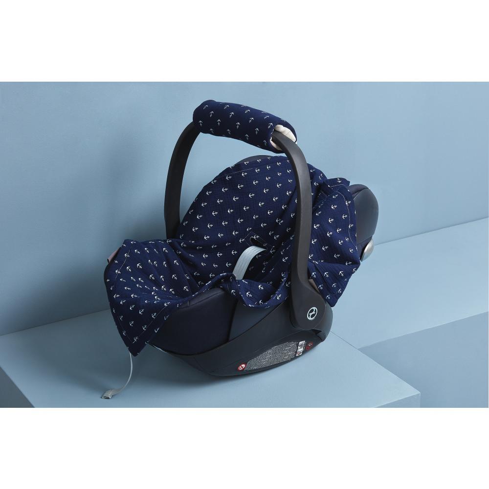 KraftKids Babydecke für Babyschale Sommer Musselin dunkelblau Anker
