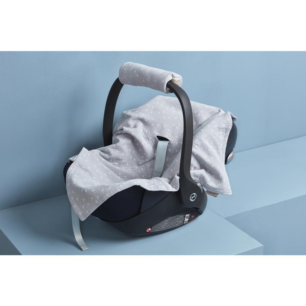 KraftKids Babydecke für Babyschale Sommer Musselin grau Pusteblumen
