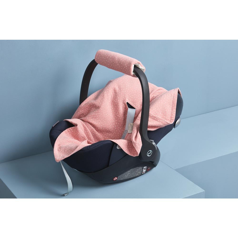 KraftKids Babydecke für Babyschale Sommer Musselin rosa Punkte