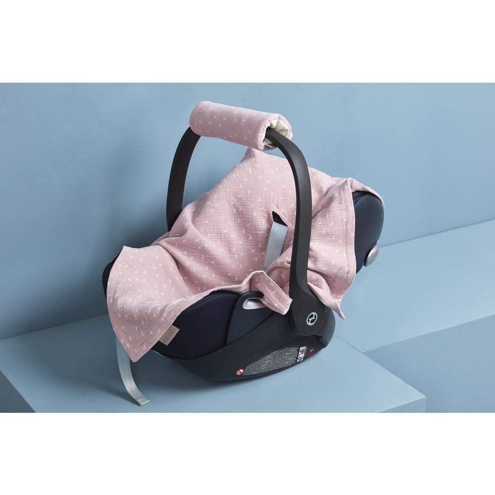KraftKids Einschlagdecke für Babyschale Sommer Musselin rosa Pusteblumen