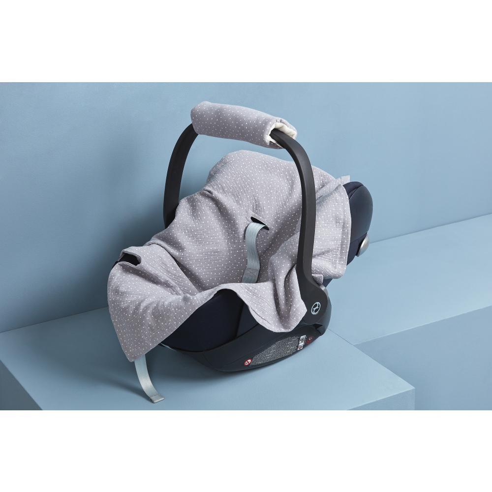 KraftKids Babydecke für Babyschale Sommer Musselin grau Punkte