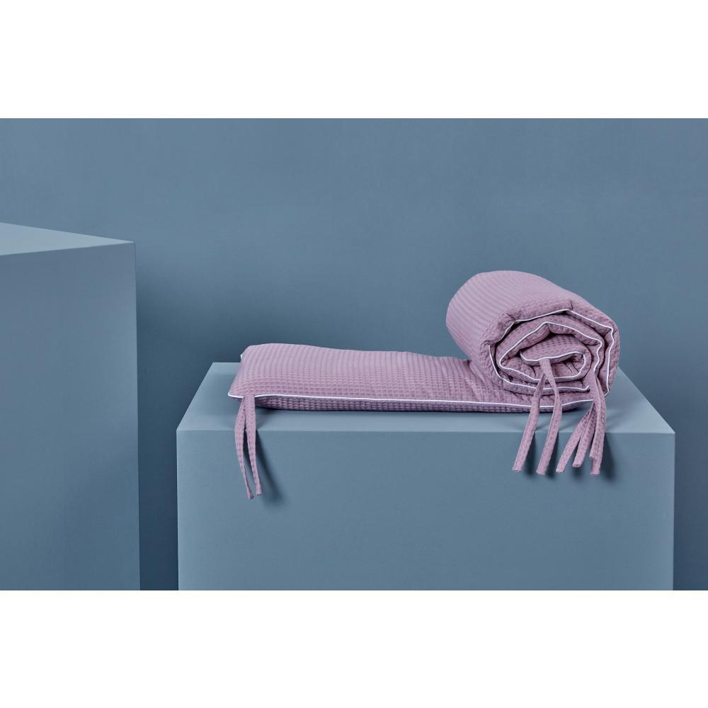 KraftKids Nestchen Waffel Piqué rosa Nestchenlänge 60-70-60 cm für Bettgröße 140 x 70 cm