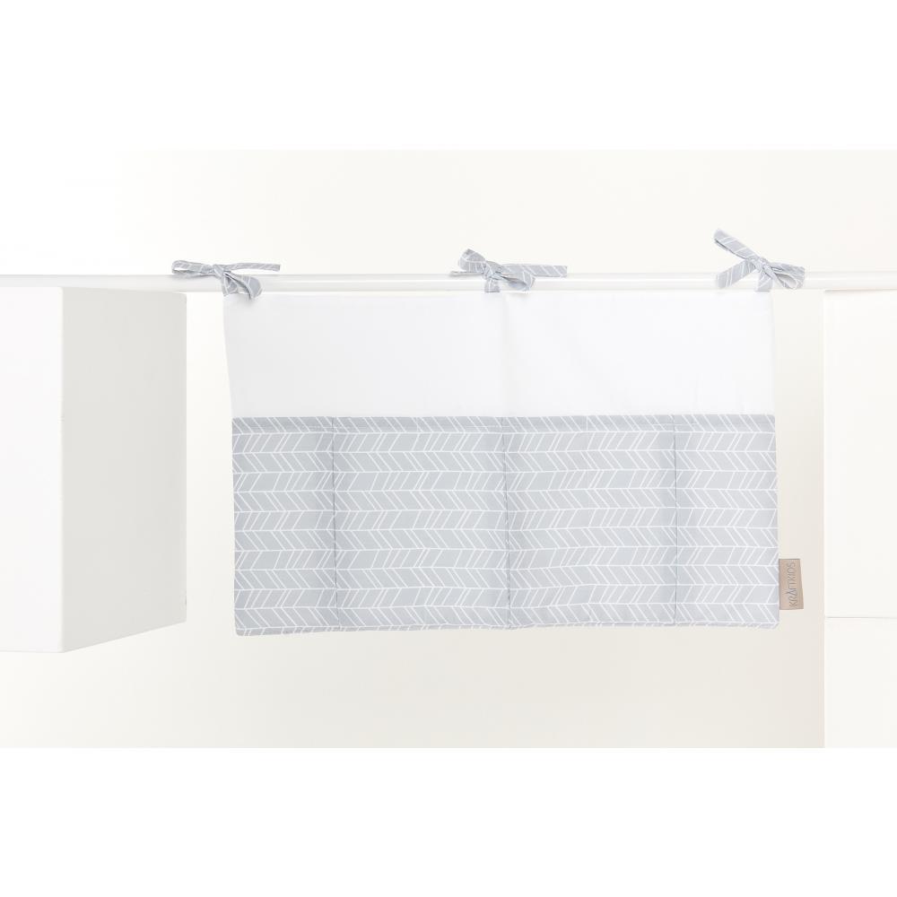 KraftKids Betttasche weiße Feder Muster auf Grau