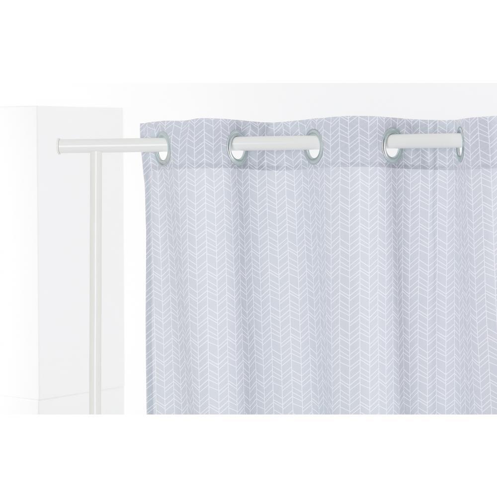 KraftKids Gardinen weiße Feder Muster auf Grau Länge: 170 cm