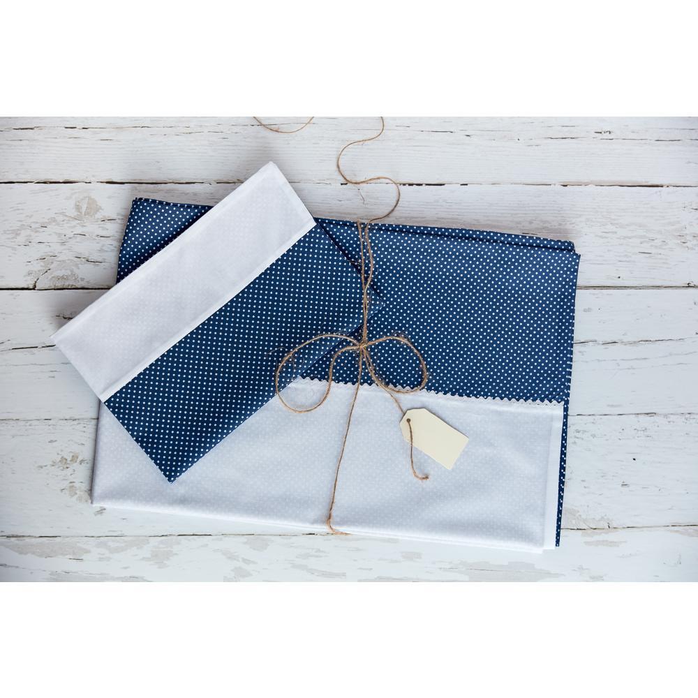 KraftKids Bettwäscheset Uniweiss und weiße Punkte auf Dunkelblau 140 x 200 cm, Kissen 80 x 80 cm
