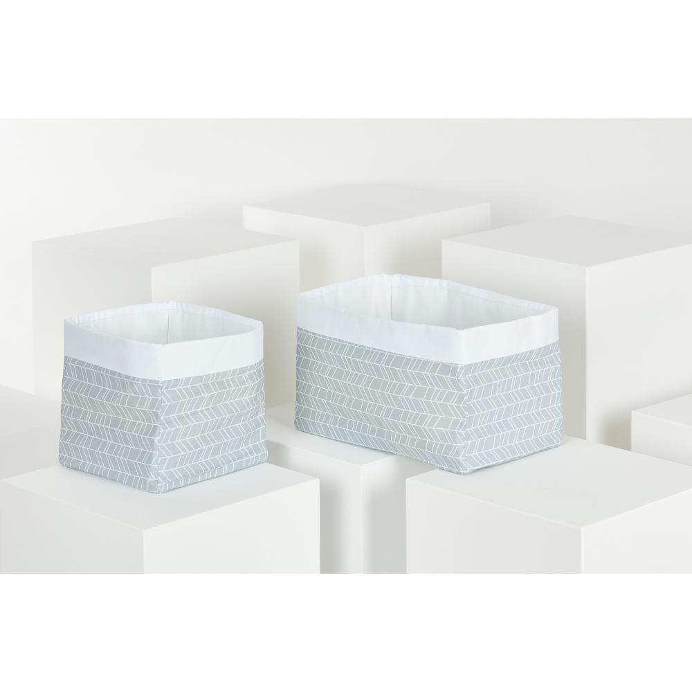 KraftKids Körbchen weiße Feder Muster auf Grau 20 x 20 x 20 cm