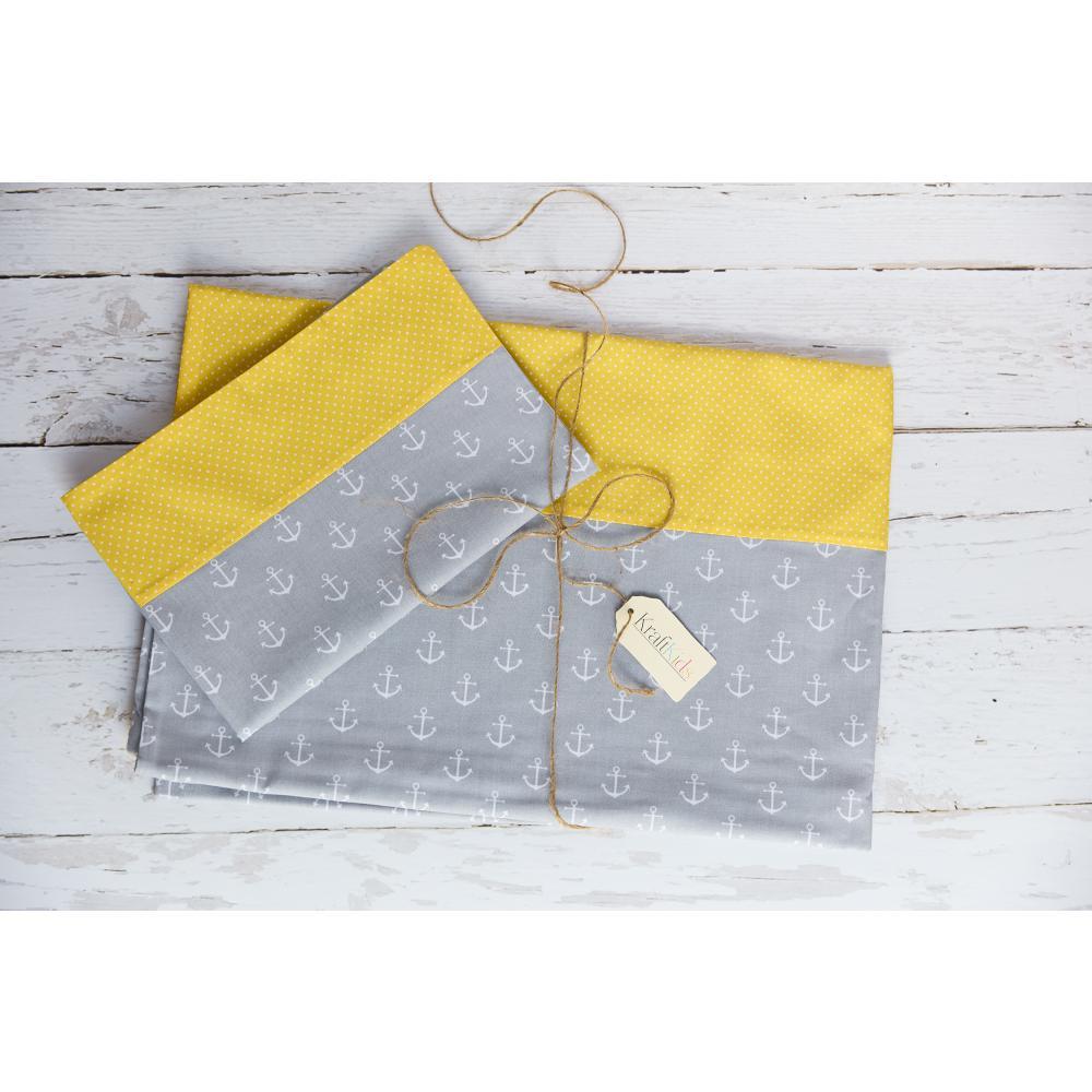 KraftKids Bettwäscheset weiße Anker auf Grau und weiße Punkte auf Gelb 140 x 200 cm, Kissen 80 x 80 cm