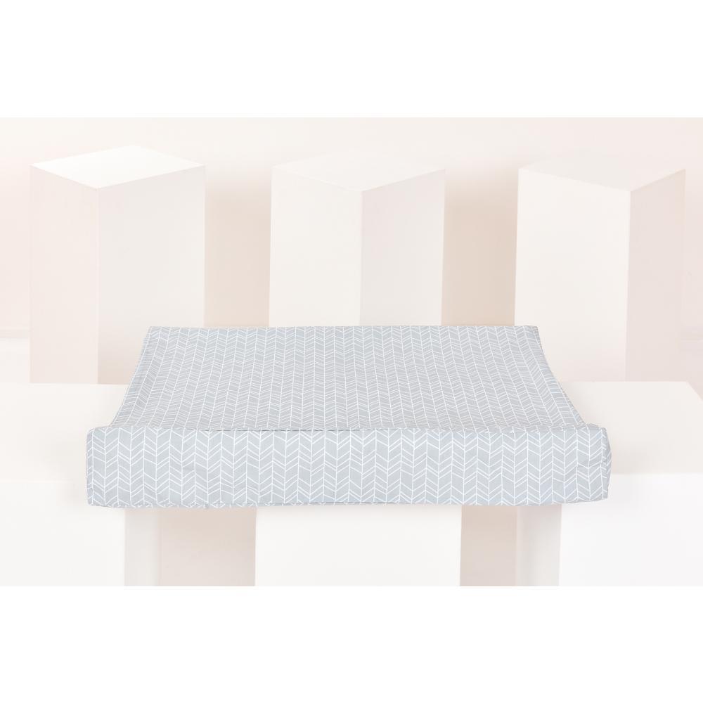 KraftKids Bezug für Keilwickelauflage weiße Feder Muster auf Grau