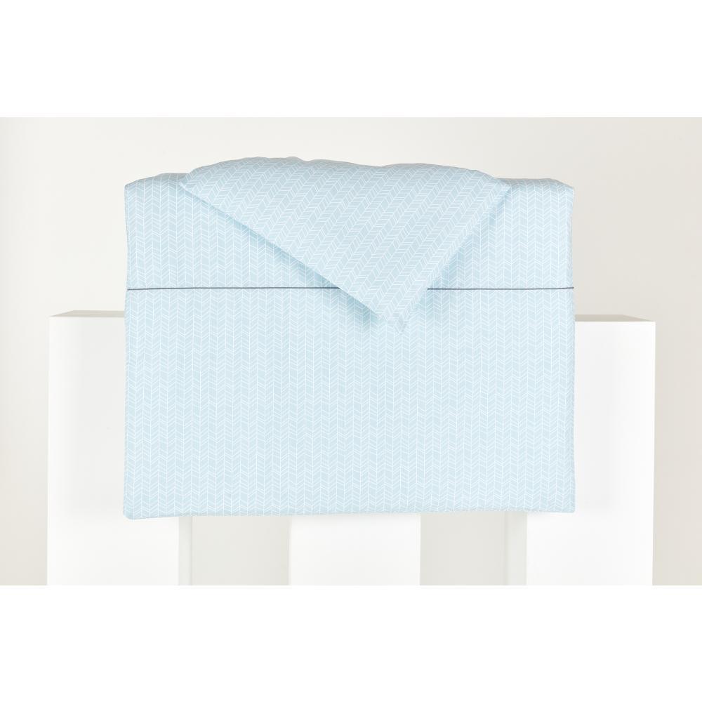 KraftKids Bettwäscheset weiße Feder Muster auf Blau 100 x 135 cm, Kissen 40 x 60 cm