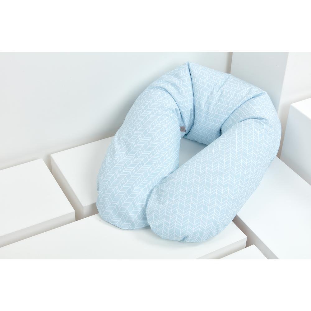 KraftKids qualitäts Stillkissen weiße Feder Muster auf Blau mit Micro-EPS-Perlen mit TOXPROOF-ZERTIFIKAT des TÜV-Rheinland